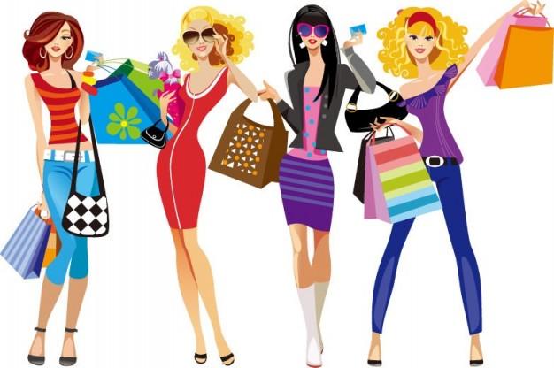 illustration-vectorielle-shopping-girls_53-9614