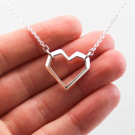 Collier coeur géométrique - argent - ladybird accessoires (2 sur 2)