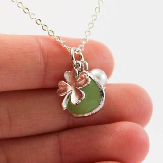 Collier -  Pendentif chance trefle - vert - argent - ladybird accessoires (2 sur 3) (1)