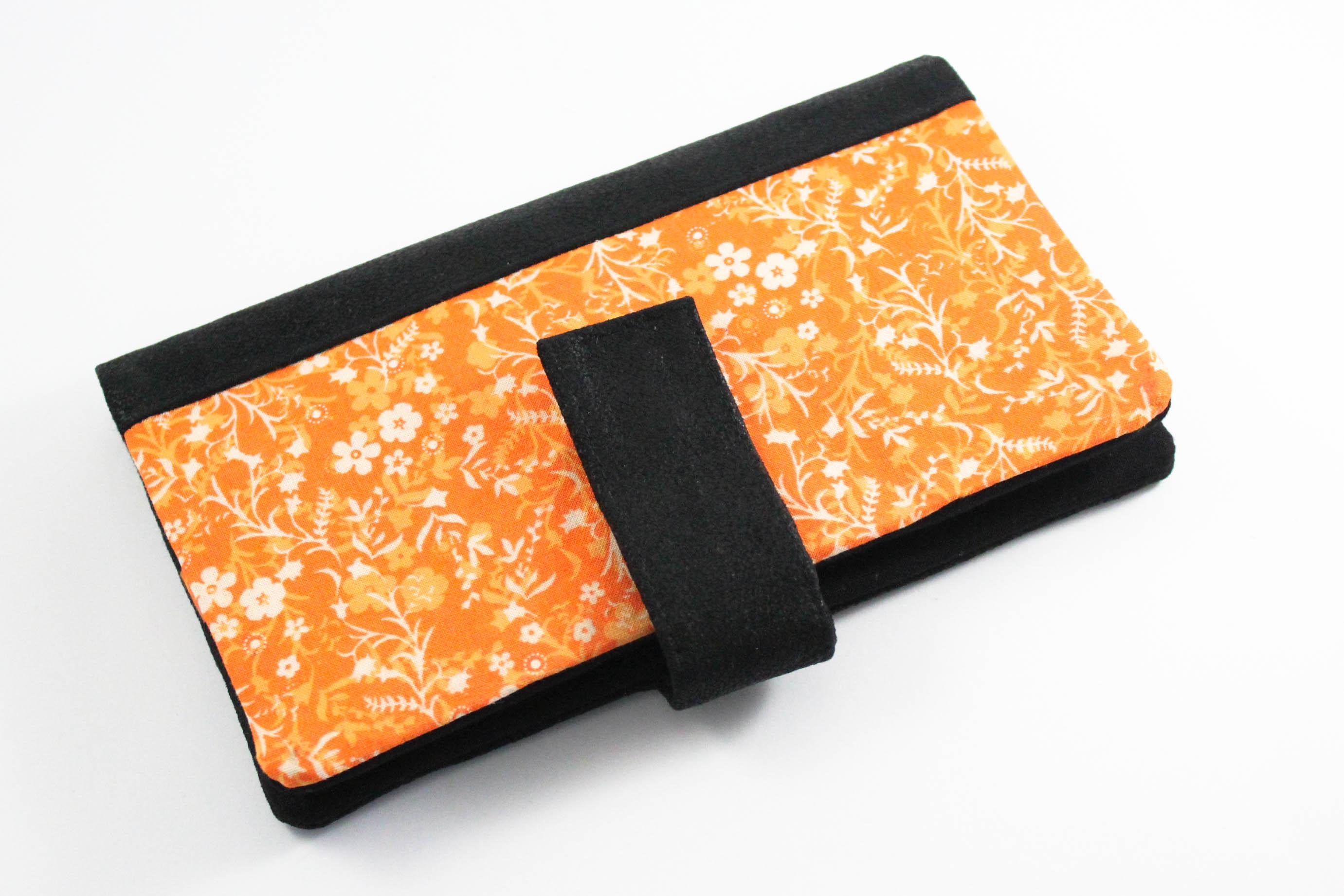 commande personnalisée portefeuille étuis lunette simili cuir noir et orange - Les lubies de Louise (1 sur 1)-3