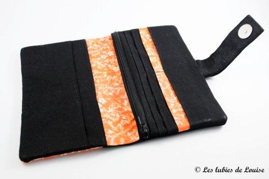commande personnalisée portefeuille étuis lunette simili cuir noir et orange - Les lubies de Louise (1 sur 7)