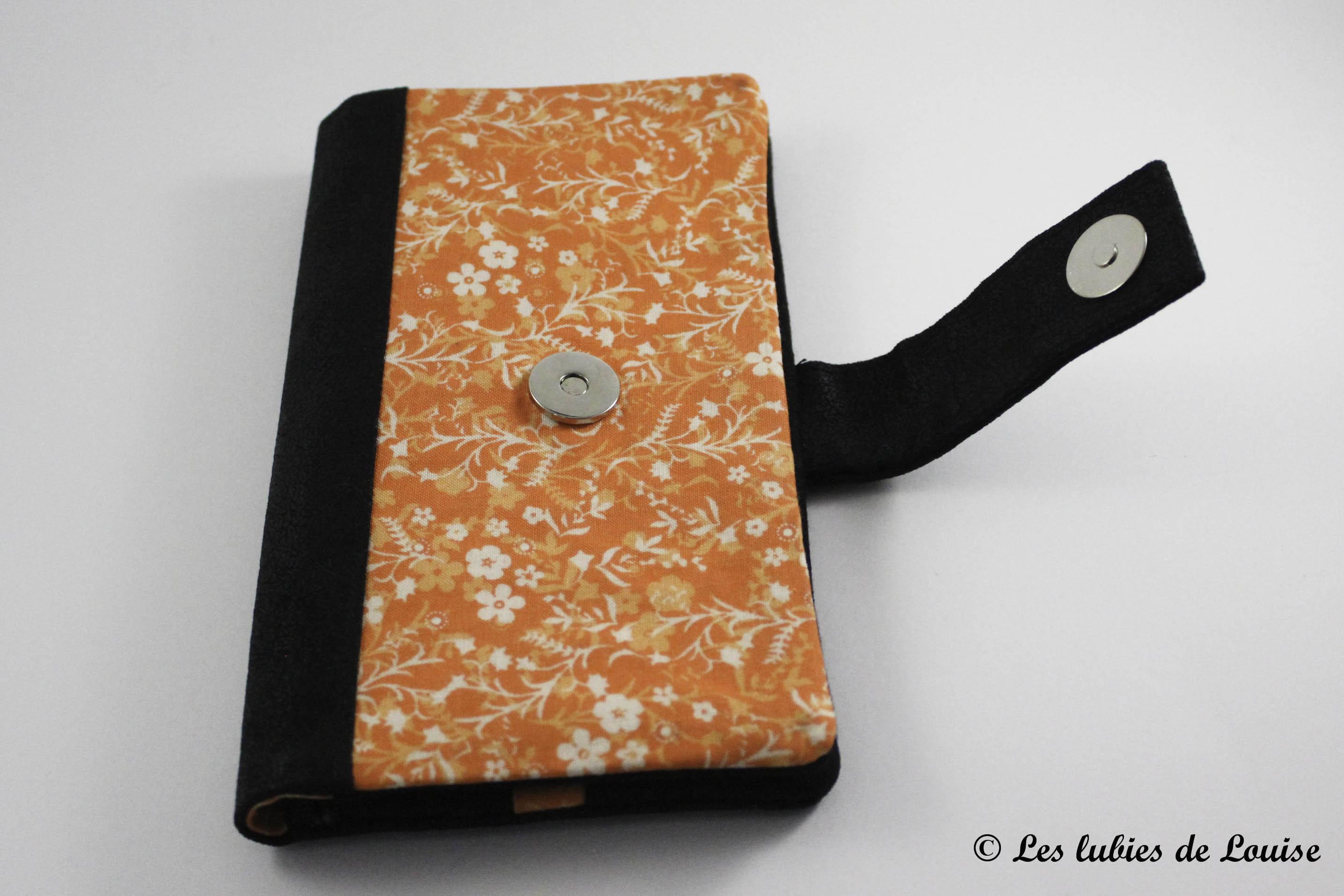 commande personnalisée portefeuille étuis lunette simili cuir noir et orange - Les lubies de Louise (2 sur 7)