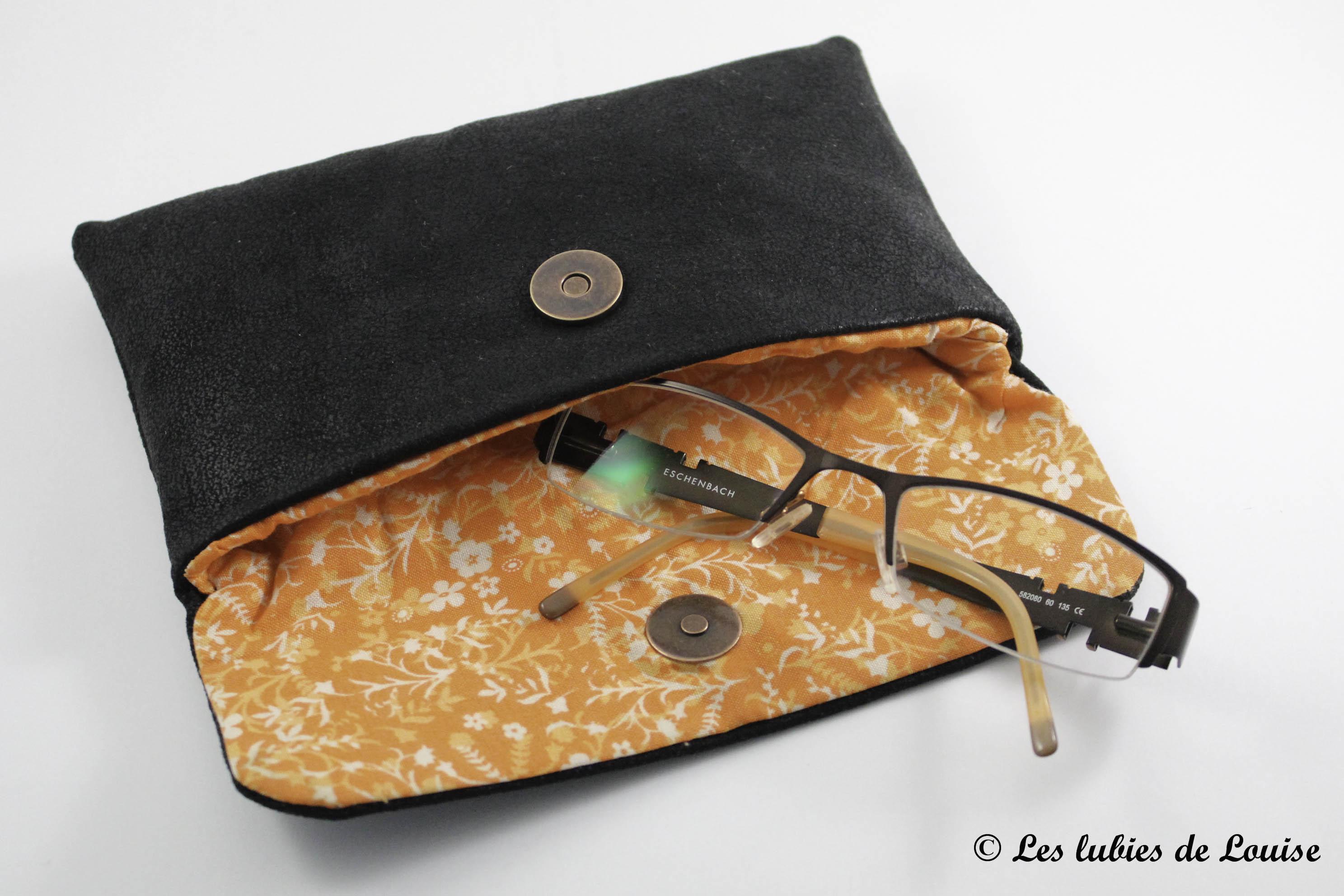 commande personnalisée portefeuille étuis lunette simili cuir noir et orange - Les lubies de Louise (4 sur 7)