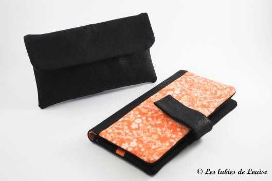 commande personnalisée portefeuille étuis lunette simili cuir noir et orange - Les lubies de Louise (6 sur 7)