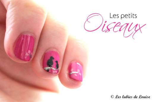 Manucure rose petits oiseaux - Les lubies de Louise (titre2)